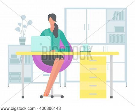 Young Dark-haired Business Woman At The Desk Is Working On The Laptop Computer Vector Illustration.