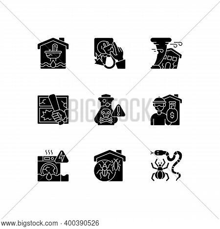 Home Accidents Prevention Black Glyph Icons Set On White Space. Water Damage. Electric Shock. Hurric