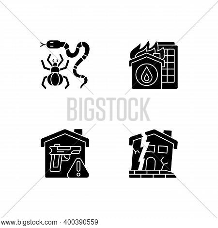 Home Hazards Prevention Black Glyph Icons Set On White Space. Dangerous Animals. Home Fire. Weapons