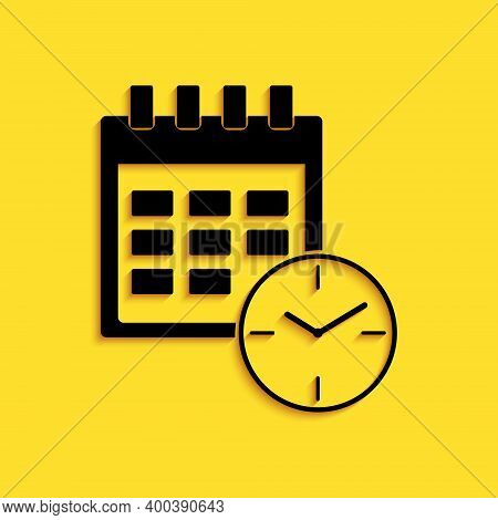 Black Calendar And Clock Icon Isolated On Yellow Background. Schedule, Appointment, Organizer, Times