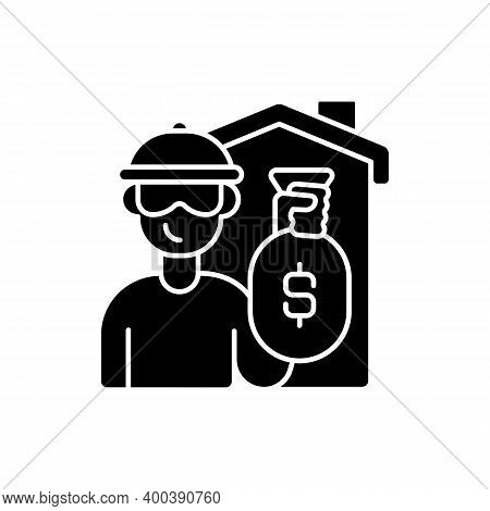 Theft Black Glyph Icon. Home Burglary And Robbery. House Invasion. Security, Safeguard. Residence Pr