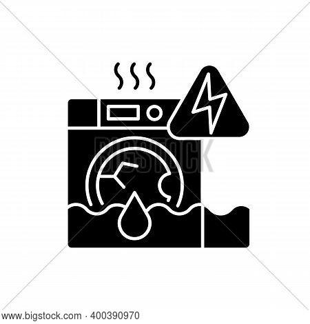 Household Appliances Malfunction Black Glyph Icon. Washing Machine, Dishwasher. Appliance Breakdown.