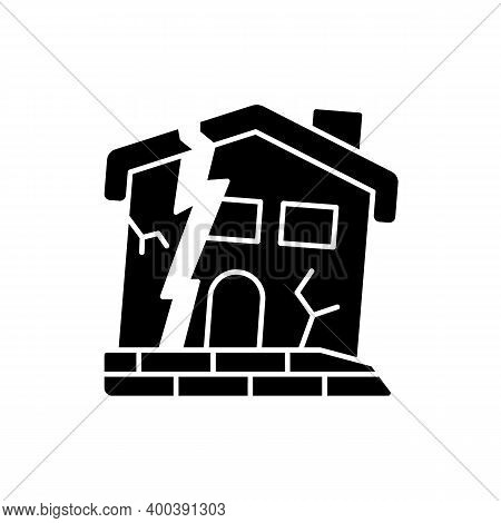 Dilapidated House Black Glyph Icon. Abandoned Buildings. Dangers In Old Houses. Health And Safety Ha