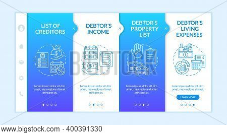 Creditor And Debtor Documentation Onboarding Vector Template. Property List. House Mortgage, Loan Fo