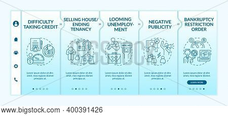 Financial Difficulty Onboarding Vector Template. Negative Publicity. Bankruptcy Restriction Order. R