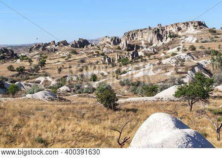 Cappadocia, Turkey - October 4., 2020: This Is A Unique Fantastic Landscape With Rocky Volcanic Rock