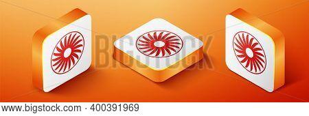 Isometric Ventilator Symbol Icon Isolated On Orange Background. Ventilation Sign. Orange Square Butt