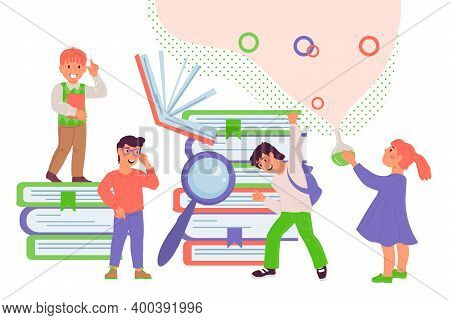 Clever Kids Among Books And Scientific Tools, Flat Vector Illustration Isolated.