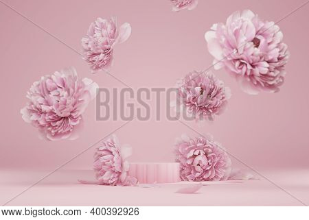 3d Display Podium Pastel Pink Flower  Background. Peony Blossom Falling Down. Nature Minimal Pedesta