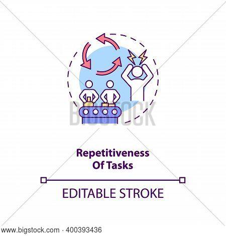 Tasks Repetitiveness Concept Icon. Ergonomic Stressor Idea Thin Line Illustration. Fixed Body Positi