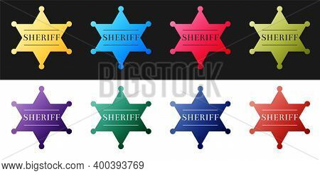 Set Hexagonal Sheriff Star Icon Isolated On Black And White Background. Sheriff Badge Symbol. Vector