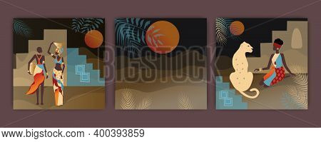 Set Of Beautiful Illustration With African Women , Night In The Desert , Vector, Luxurious African W