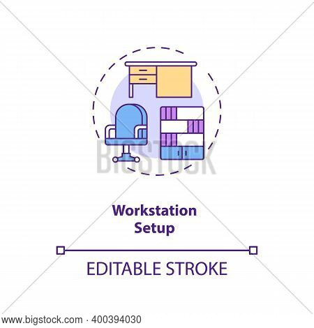 Workstation Setup Concept Icon. Workplace Design Idea Thin Line Illustration. Office Ergonomics. Adj