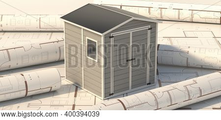 Gardening Tools Storage Shed In The House Backyard On Project Blueprint Background. 3D Illustration