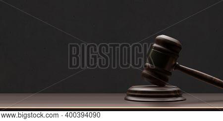 Judge Gavel On Wooden Desk Background, Copy Space. Auction, Court Table. 3D Illustration