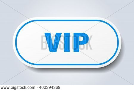 Vip Sign. Vip Rounded Blue Sticker. Vip