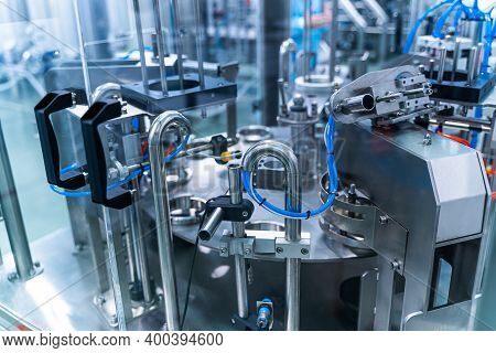 Dairy Factory With Milk Pasteurization Tank And Pipes. Dairy Production. Modern Equipment.
