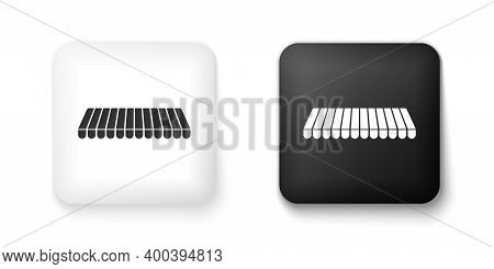 Black And White Striped Awning Icon Isolated On White Background. Outdoor Sunshade Sign. Awning Cano