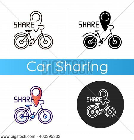 Bicycle Sharing System Icon. Service In Which Bicycles Are Made Available For Shared Use To Individu