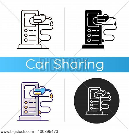 Refueling A Car Icon. Refilling Your Automobile Fuel Tank. Charging Electrocar Batteries. Using Gaso