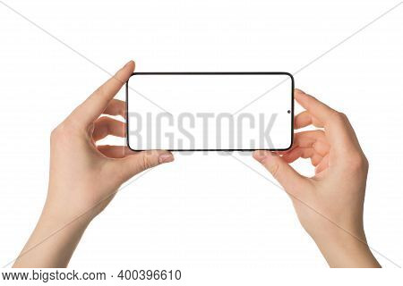 Shooting On Smart Phone Concept. Close Up Photo Pov Of Female Hands Holding Smart Gadget Device In H