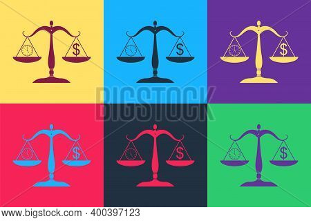 Pop Art Scale Weighing Money And Time Icon Isolated On Color Background. Scales With Hours And A Coi