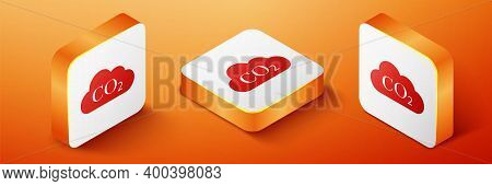 Isometric Co2 Emissions In Cloud Icon Isolated On Orange Background. Carbon Dioxide Formula Symbol,
