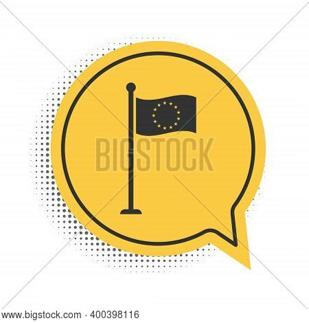 Black Flag Of European Union Icon Isolated On White Background. Eu Circle Symbol. Waving Eu Flag On