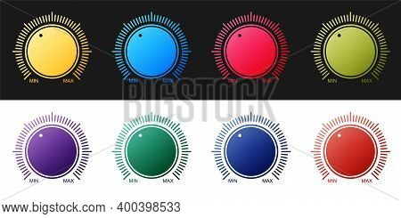 Set Dial Knob Level Technology Settings Icon Isolated On Black And White Background. Volume Button,