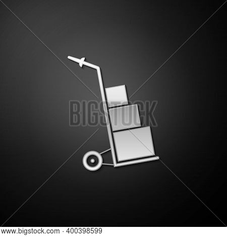Silver Hand Truck And Boxes Icon Isolated On Black Background. Dolly Symbol. Long Shadow Style. Vect