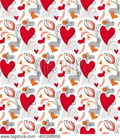 Love Abstract Collage Seamless Pattern. Hand Drawn Graphic Design, Nature Folklore Flourish, Hearts,