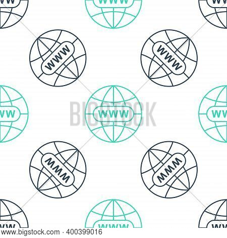 Green Go To Web Icon Isolated Seamless Pattern On White Background. Www Icon. Website Pictogram. Wor