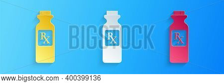 Paper Cut Pill Bottle With Rx Sign And Pills Icon Isolated On Blue Background. Pharmacy Design. Rx A