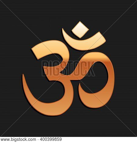 Gold Om Or Aum Indian Sacred Sound Icon Isolated On Black Background. The Symbol Of The Divine Triad