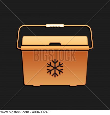Gold Cooler Bag Icon Isolated On Black Background. Portable Freezer Bag. Handheld Refrigerator. Long