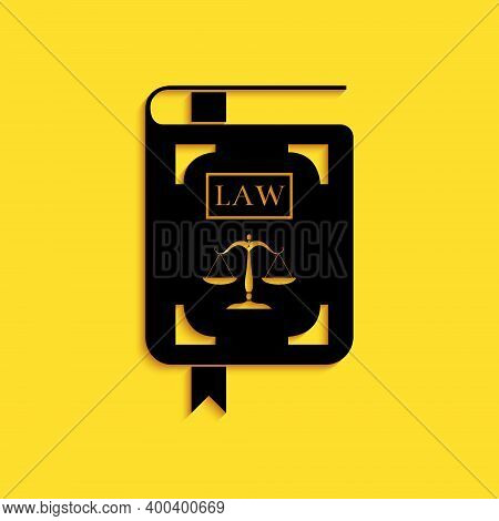 Black Law Book Statute Book With Scales Of Justice Icon Isolated On Yellow Background. Long Shadow S