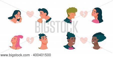 Colection Of Couples Avatars With Various Emotion. Fulfillment Of Hopes, Enthusiasm, Tension, Shynes