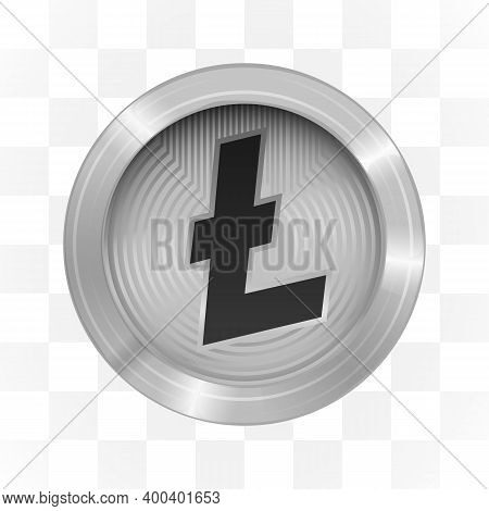 Litecoin Cryptocurrency Sign On Transparent Background. Blockchain.