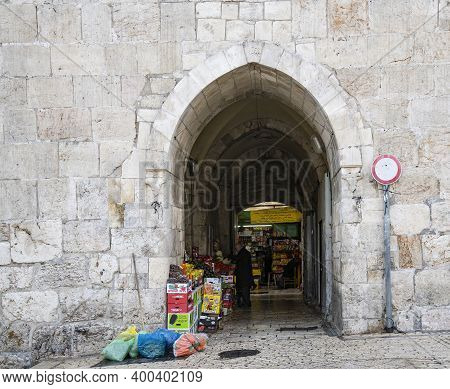 Jerusalem, Israel - December 17th, 2020: Commerce At Herod's Gate In The Walls Of The Old City Of Je