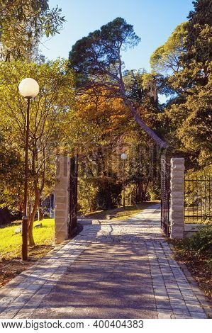 Entrance To The Large Town Park ( Botanical Garden ) Of  Tivat City . Montenegro