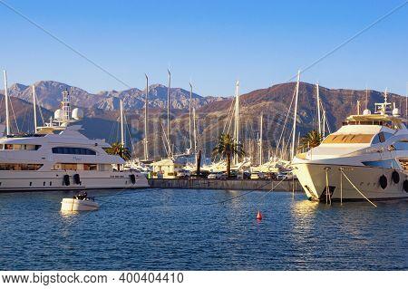 Tivat , Montenegro - December 14 2020:  View Of Yacht Marina Of Porto Montenegro In Tivat City. Mont