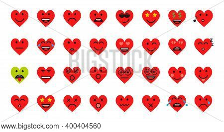 Heart Smile Set Vector Cartoon Emoticons Icon. Chat Comment Icon Reactions Template: Smile, Sad, Lik