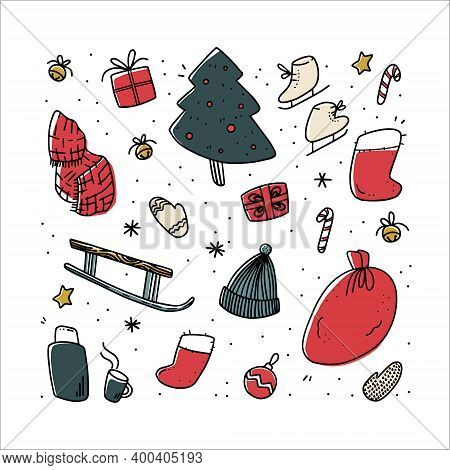 Set Of Christmas Illustrations In Doodle Style. Sledges, Skates, Christmas Tree, Candies, Balls, Gif