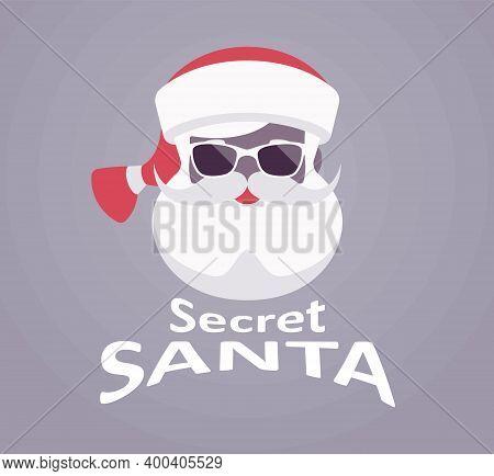 Secret Santa Claus Wearing Dark Glasses, Festive Lettering Design. Anonymous Father Christmas Face,