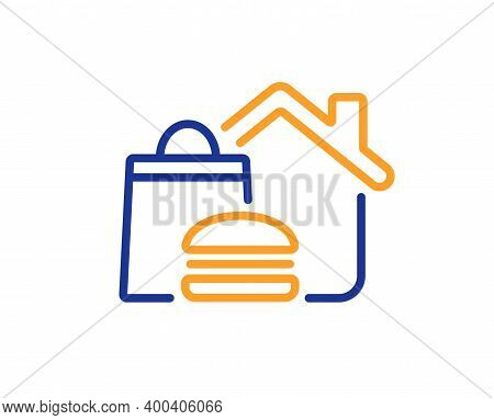 Food Delivery Line Icon. Meal Order At Home Sign. Fast Food Deliver Symbol. Quality Design Element.