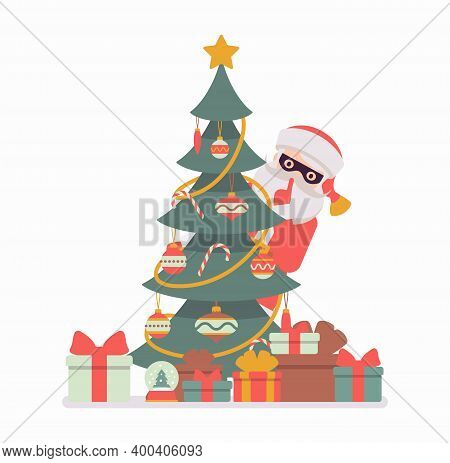 Secret Santa Claus Wearing Mask Hiding Behind A Christmas Tree. Anonymous Father Christmas Bringing,