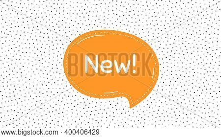 New Symbol. Orange Speech Bubble On Polka Dot Pattern. Special Offer Sign. New Arrival. Dialogue Or