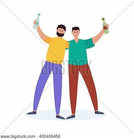 Drunk Alcohol Addicted Men With Bottles, Flat Vector Illustration Isolated.