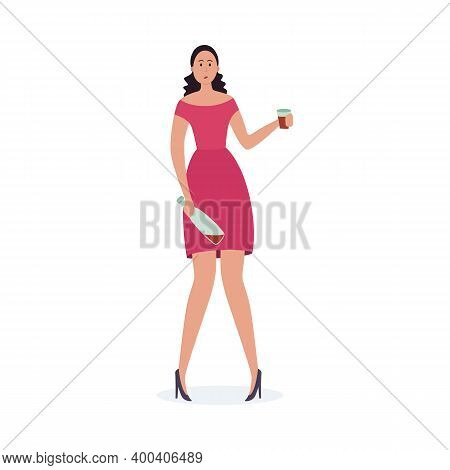 Drunk Woman With Alcohol Problem Holding Wine Bottle