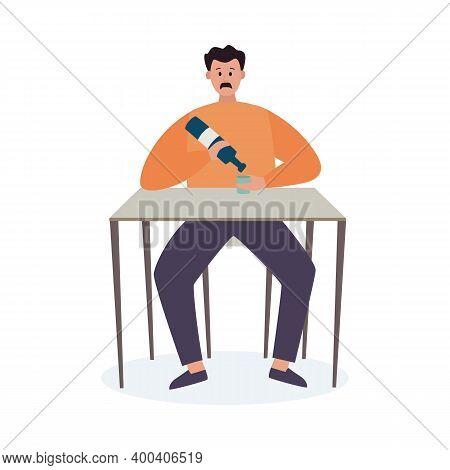 Man With Bad Habits And Alcohol Addiction A Vector Illustration.